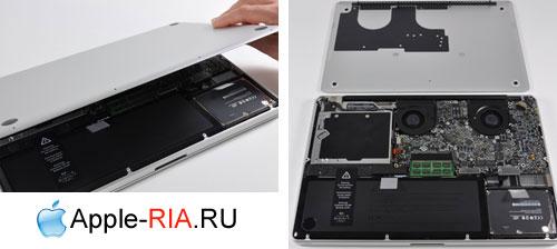 Снятие крышки ноутбука MacBook PRO 17 Unibody